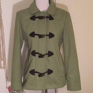 GAP sage green wool leather toggle jacket coat M